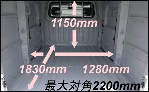 車両Aの荷室寸法(荷室の写真付き)